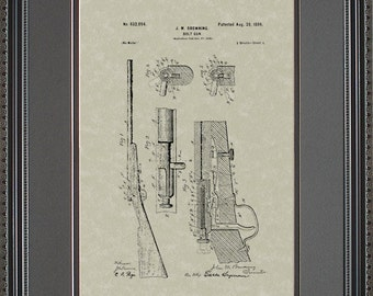 Bolt Rifle Patent Artwork Hunter Shooter Gun Gift B2094