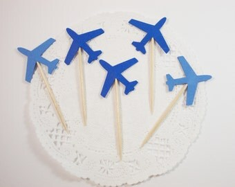 Blue Airplane Party Picks, Cupcake Toppers, Airplane Party Decoration, Birthday Party, 12 Ct., 2-3 Business Days
