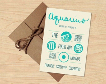 Aquarius Card! Astrological Sun Sign, Zodiac Design. Stationery, Birthday Gift. Envelope included.