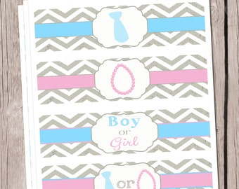 Gender Reveal Water Bottle Labels Baby Shower Water Bottle Labels Gender Reveal Matching Items
