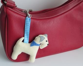 Hand sewn Soft Coated Wheaten Terrier felt bagcharm
