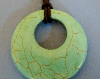 104-Donut Shaped Turquiose Agate Druzy Pendant Necklace, Turquiose Agate Necklace, Green Agate Pendant, Avocado Donut Agate Necklace, Agate