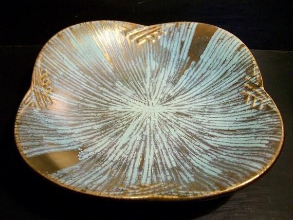 Vintage Carstens Tonnieshof W. Germany Shallow Bowl 560/28 Retro Teal Blue Gold Starburst Pattern