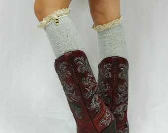 Boot Socks with Lace Top - Gray Tweed