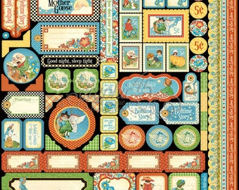 Graphic 45 Mother Goose 12 x 12 Sticker Sheet