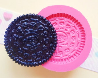 27mm Oreo Cookie Flexible Silicone Mold - Decoden Kawaii Sweets Resin Fimo Polymer Clay Sculpey Wax Soap Fondant Cabochon