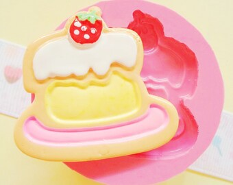 40mm Strawberry Cake Biscuit Cookie Flexible Silicone Mold - Decoden Kawaii Sweets Resin Fimo Polymer Clay Sculpey Wax Soap Fondant Ca