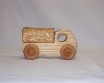 Handmade wood toy water tank truck