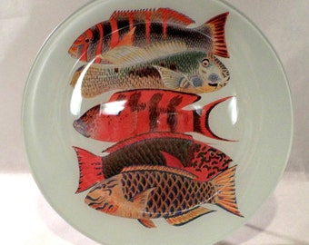 Tropical Fish; Large Serving Platter; Antique Fish Illustration; 12 inch Round Serving Tray; Made to Order