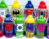 Personalized Water Bottle, Superhero Bottle, Personalized Cup, Sippy Cup Snack Holder, Superhero Party Favor,Birthday Party Favor, Set of 20