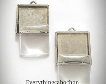 25mm/ 1 Inch Antique Silver Square Cabochon Setting with matching cabochons, Pendant Bezel Tray, 8 pcs