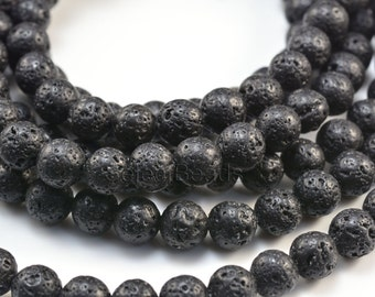 natural lava rock beads -black volcanic rock beads - lava rock jewelry beads - volcanic lava beads wholesale - round beads -4-12mm -15inch