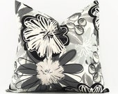 Gray Pillow Cover, 16x16 Pillow Cover, Black Designer Pillow, Sofa Couch Decorative Pillows, HGTV Flower Fest