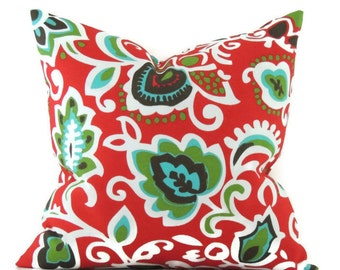 Outdoor Pillow, 18x18 Pillow Cover, Modern Pillows, Decorative Outdoor Cushion Cover, Faxon Rojo Red