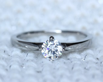 Titanium and Natural white sapphire solitaire ring - engagement ring - wedding ring