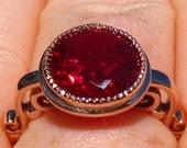 "Ruby Engagement Ring in Rose Gold Milgrain Bezel ""Sweet Pea"" Design, Rose Gold Engagement Ring"