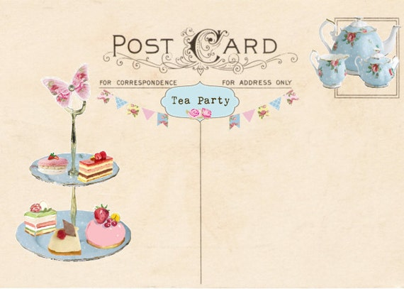Vintage Tea Party Invitation, Tea Party Postcard, Printable Tea Party  Invitation, Blank Postcard, Add Your Own Text, Digital Download