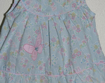 Vintage baby dress blue floral, no name Dress for 24 Mo