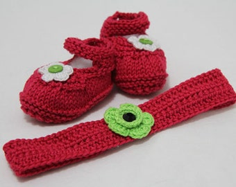 Baby shoes fuchsia pink with matching headband