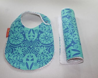 Baby Bib and Burp Cloth set, Temple Doors, Neutral