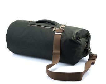 Waxed Canvas Duffle Bag - Large Green