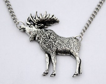 Moose Necklace in Fine English Pewter, Handmade and Gift Boxed (ab)