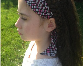 Black and pink polkadot headband/head wrap