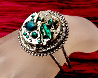 Steampunk Vintage Pocket Watch Movement Bracelet with Vintage Emerald Glass Crystals, by Kay E2203