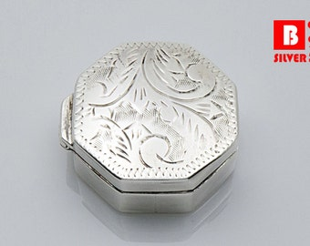 Vintage 925 Sterling Silver Octagon Box