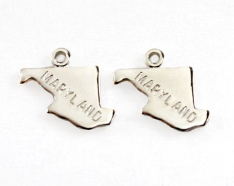 2x Silver Plated Engraved Maryland State Charms - M072-MD