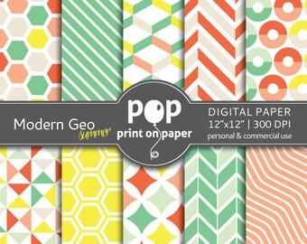 Summer Digital Paper Modern Geometric Digital Paper Ice cream colors, summer color, mint and coral, website background, modern digital paper
