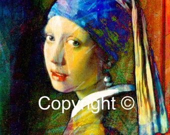 The girl with a pearl earring  Old Master Re Visited - Print Run of 100