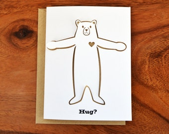 Die-Cut Bear Hug Card in Light Brown