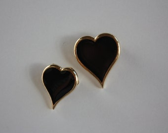 Two Vintage Black Heart Brooches