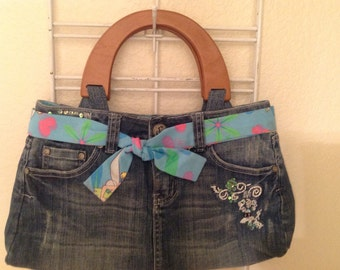Upcycled Jean Tinkerbell Purse