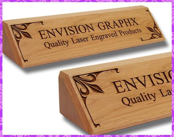 Personalized custom engraved alder wood classic desk name