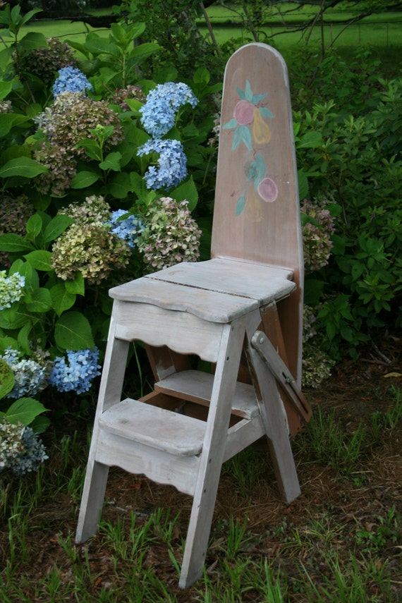 Escabeau Bois Vintage : Ironing Board Step Ladder Chair