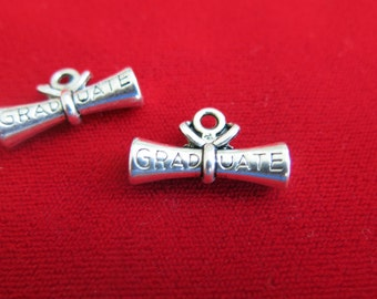 "5pc ""graduate"" charms in antique silver style (BC86)"