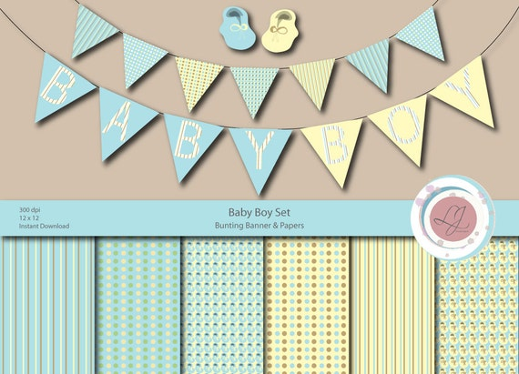 Baby boy bunting banner and patterned paper set clipart for Baby shower paper crafts