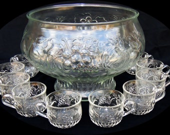 Vintage Jeannette Glass Clear Punch Bowl Set
