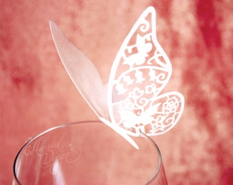 Butterfly Place Card, Set of 10. Silhouette Butterfly Wedding / Bridal Shower Reception Decoration, Party Guest name card, Escort card