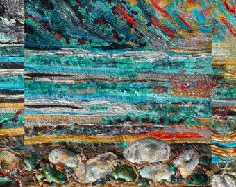 Tryptic. landscape. sunset seascape Goodbye Bahamas. textile art. turquoise.
