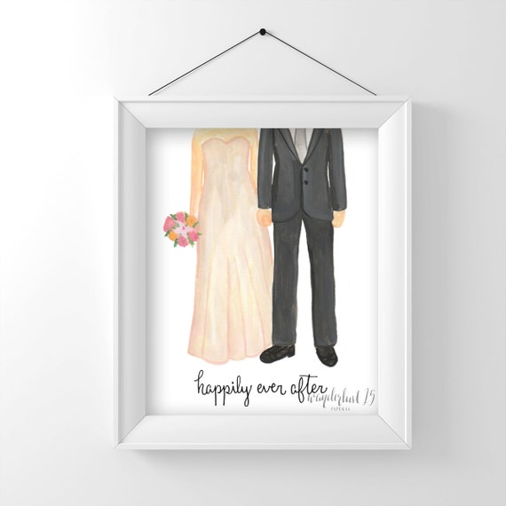 Happily Ever After, Wedding Couple, Love, art print, illustration, typography