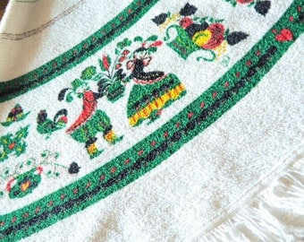 """LARGE 55""""-Diameter Swedish Terrycloth Tablecloth or Rug--Clean and Well Preserved--A Rare Scandi Find"""