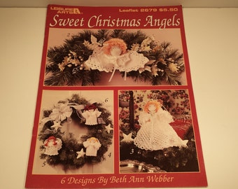 Sweet Christmas Angels Crochet Patterns by Leisure Arts Leaflet 2679 presented by Donellensvintage