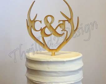 4 inch Deer Antler with Monogram CAKE TOPPER - Celebrate, Party, Cake Decoration