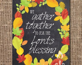 Hymn Print: We Gather Together to ask the Lord's Blessing