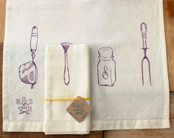 Dish Towel in Purple on Cream Cotton and Linen - Hand Screened Kitchen Towel - Gourmet Gift