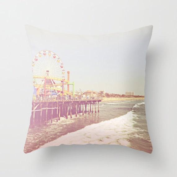 Santa Monica Pier Throw Pillow or Cover California Photography