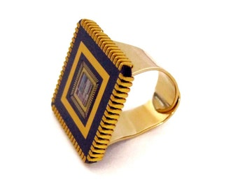 Gold computer chip Ring,  Adjustable, Wearable tech, Rectangle Ring, Tech Ring, Geek Ring, Gift for Geek, Purple and gold, Statement Ring.